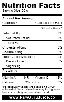 Swiss bette à carde DNF Nutrition Facts
