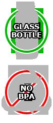 Bouteilles en verre, pas de lessivage, pas de BPA