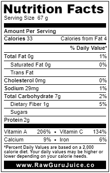 Kale NFD nutrition facts