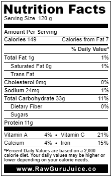 Pea Sprout NFD nutrition facts