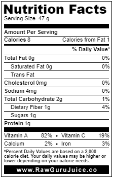 Romaine DNF Nutrition Facts