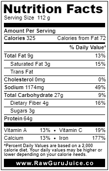 Spirulina NFD nutrition facts