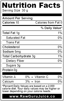 Canne à sucre DNF Nutrition Facts