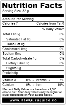 Wheatgrass NFD nutrition facts